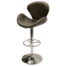 WINSTON SWIVEL STOOL- EBONY  Vintage Leather- Antique Ebony with Chrome Finish on Adjustable Bar or