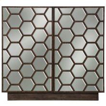 BISBEE CABINET  Chestnut Finish on Hardwood with Hexagon Plain Finish Beveled Mirror  2 Door