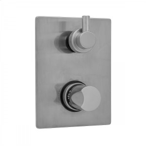 Antique Brass - Rectangle Plate with Thumb Thermostatic Valve with Contempo Short Peg Lever Built-in 2-Way Or 3-Way Diverter/Volume Controls (J-TH34-686 / J-TH34-687 / J-TH34-688 / J-TH34-689) Product Image