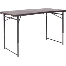23.5''W x 48.25''L Height Adjustable Bi-Fold Brown Wood Grain Plastic Folding Table with Carrying Handle