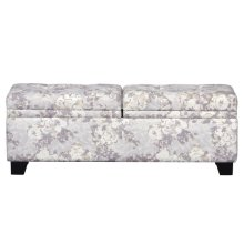 Dual Storage Upholstered Bench in Floral