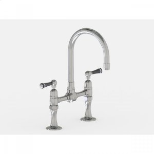 """Brushed Stainless - Deck Mount 7"""" Swivel Bar Faucet Spout with Black Ceramic Lever Product Image"""
