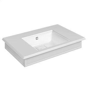 "Wall-mounted or counter-top washbasin in Cristalplant® with overflow waste Matte white 20-9/16"" L x 35-7/16"" W x 5-7/8"" H Overflow cap in finish 031 chrome - see 46763 for more finish options May be drilled on-site for single or 3 hole washbasin mixer CSA Product Image"