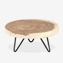 """9"""" Round Wooden Teak Riser with Iron Base - Small (K/D)"""