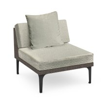 "32"" Outdoor Dark Grey Rattan 1 Seat Centre Sofa Sectional, Upholstered in Standard Outdoor Fabric"