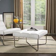 Reach Upholstered Vinyl Ottoman in White