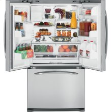 GE Profile ENERGY STAR® 25.8 Cu. Ft. French Door Bottom-Freezer Refrigerator (This is a Stock Photo, actual unit (s) appearance may contain cosmetic blemishes. Please call store if you would like actual pictures). This unit carries our 6 month warranty, MANUFACTURER WARRANTY and REBATE NOT VALID with this item. ISI 32766