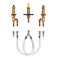 """M-Pact two handle roman tub valve 10"""" center 1/2"""" cold expansion pex crimp ring pex connection"""