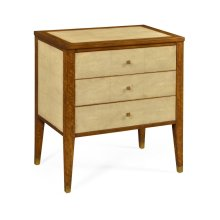 Ivory Faux Shagreen Bedside Chest of Drawers