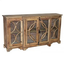 Large Pine Glass Door Cabinet
