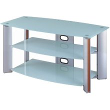 "3-tier TV Stand, Aluminum/white Glass, 46""lx23""wx23""h"