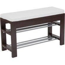 Bay Ridge Espresso Wood Finish Storage Bench with Cushion