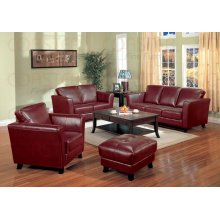 "LOVESEAT,RED/F 58-1/4""x35-1/2""x36-1/4""H"