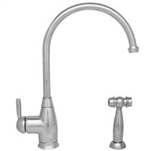 Queenhaus single lever faucet with a long goose neck spout, a solid lever handle, and a solid side spray.