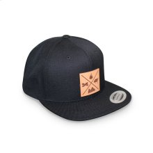 GMG Black Snapback Hat w/ Leather Patch