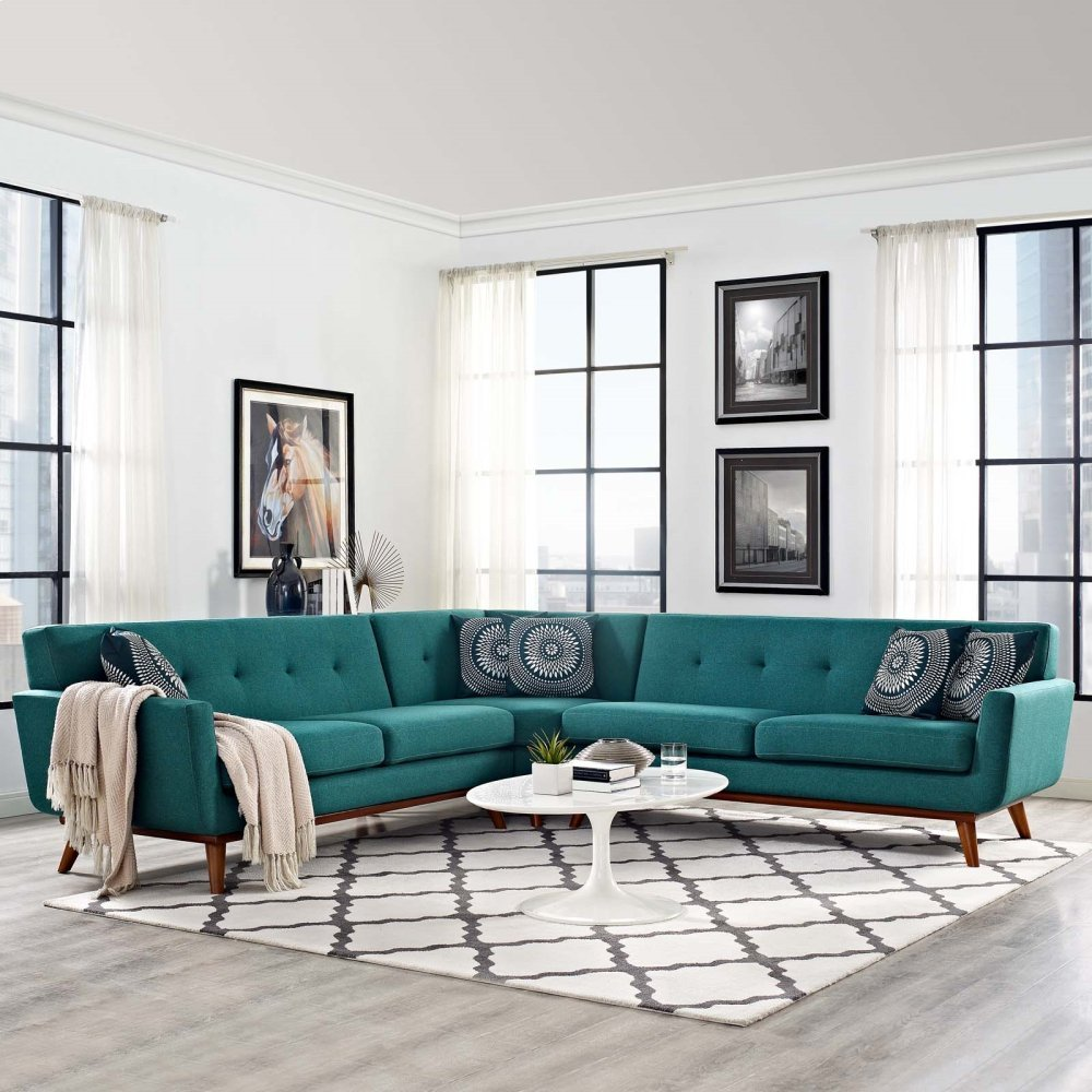 Engage L-Shaped Sectional Sofa in Teal