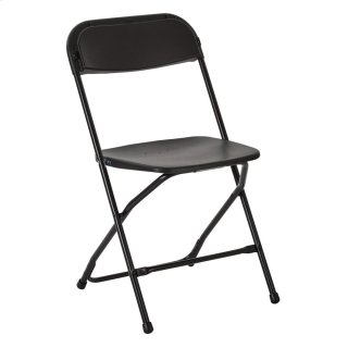 Black Powder Coated Frame and Plastic Folding Chair 2-pack