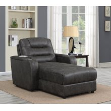 SU-K1128045LS  Power Reclining Chaise Lounge Chair with Arms  Phone Charger  Cupholder  Storage  Gray