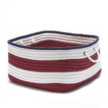 """Nautical Stripe Basket AU21 Red Navy 14"""" X 10"""""""