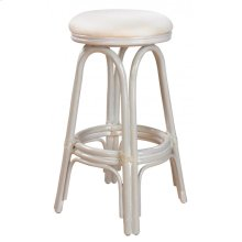 "Vanessa Indoor Swivel Rattan & Wicker 30"" Bar Stool in Whitewash Finish with Cushion"