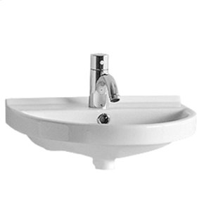 Isabella Collection small, U-shaped china wall mount basin with chrome overflow and rear center drain. Product Image