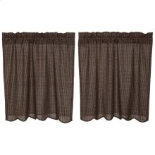 Kettle Grove Plaid Tier Curtain Scalloped Set of 2 L36xW36