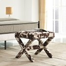 Rivet Upholstered Fabric Bench in Cowhide Product Image