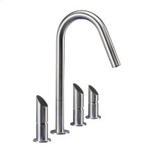 Dual flow 4 hole mixer for mains and filtered water.