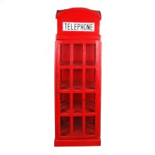 CC-CAB064LD-RD  English Phone Booth Cabinet  Distressed  Red