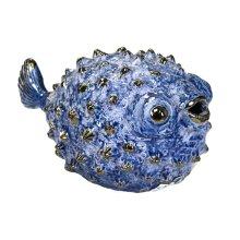 """Blue Ceramic Puffer Fish 10"""""""