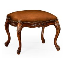 Large French Provincial Walnut Footstool Leather