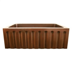 """Copperhaus rectangular undermount sink with a fluted design front apron and a 3 1/2"""" center drain - 14 gauge copper sink. Product Image"""