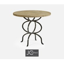 Light Driftwood Bistro Style Panelled Round Centre Table