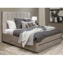 Complete Cal.King Upholstered Bed with Wood/Metal FB