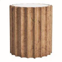 Reflective Column Side Table-Olive Ash Burl