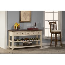 Tuscan Retreat® Wine Rack Hall Table With 5 Drawers - Country White With Antique Pine Top