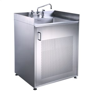 Pearlhaus Series single door, stainless steel cabinet with sink. Product Image