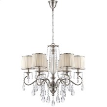 6 Lites Chandelier - Chrome/fabric Shd/crystal, E12 B 25wx6