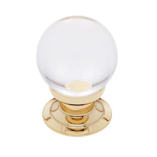 24k Gold 30 mm Smooth Crystal Knob