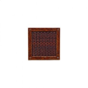 Square Designer Escutcheon - E155 Silicon Bronze Brushed with Acorn Weave Leather Product Image