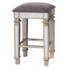 Mirrored Stool  16in X 16in X 28in Glamorous Traditonal Mirrored Bar Stool with Grey Velvet Fabric