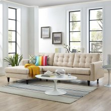 Empress Left-Facing Upholstered Fabric Sectional Sofa in Beige