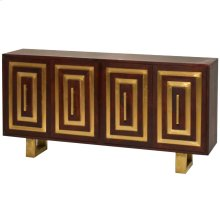 LUNI SIDEBOARD  Walnut Finish on Mango Wood with Brass Metal Detail  4 Door