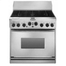 """36"""" Width 6 Burners Stainless Steel Cooktop Dual Fuel True Convection Oven Architect® Series Freestanding"""