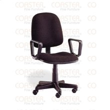 CHAIR/OFFICE W/ARMS,GAS SHOCK, MTL/BLK FABRIC