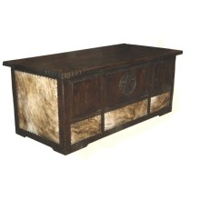 Dark Cowhide Desk W/ Star & Rope Dark Lv Finish W/ Rope Corners