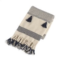 Cream & Navy Pattern Stripe Throw with Braided Tassels Product Image