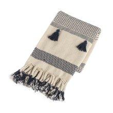 Cream & Navy Pattern Stripe Throw with Braided Tassels
