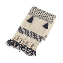Cream & Navy Pattern Stripe Throw with Braided Tassels