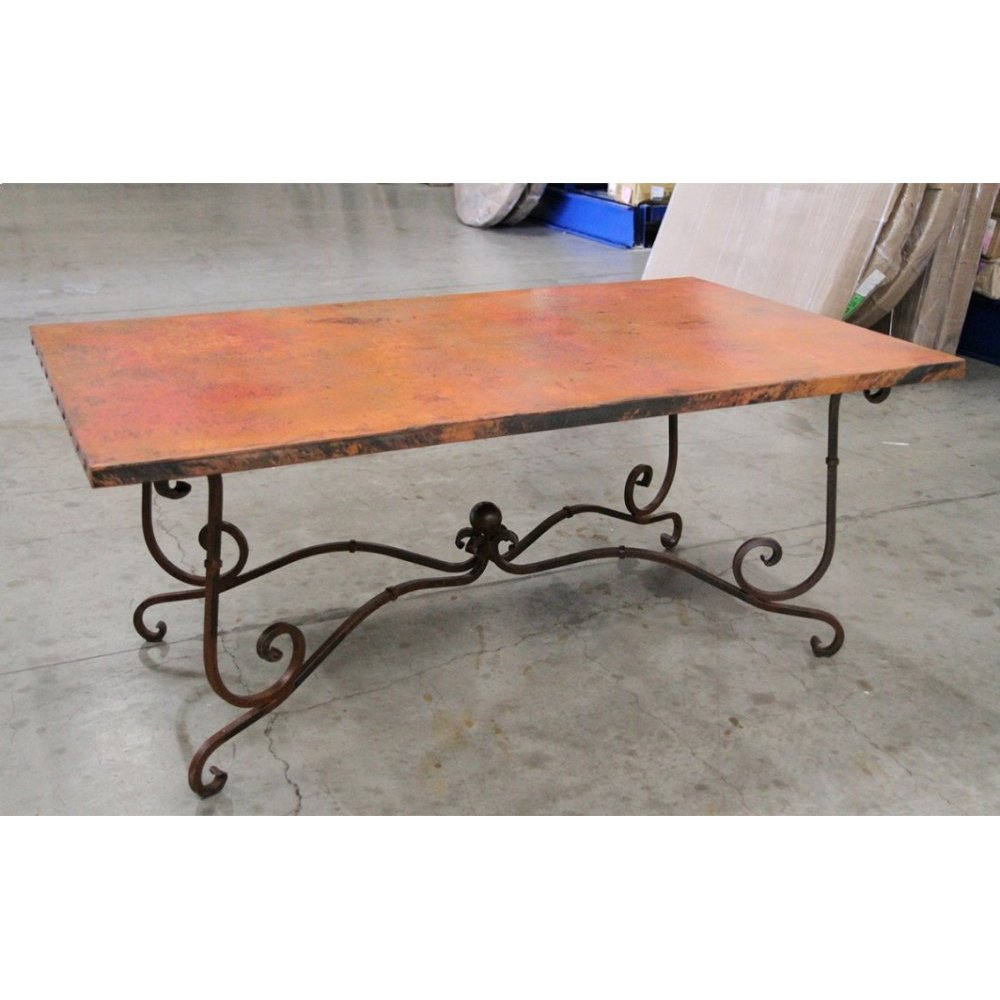 "Factory 4 42x72"" Natural Copper Top & Wrought Iron Base"